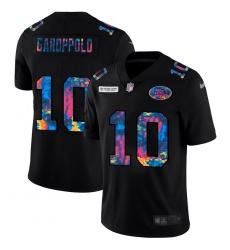 San Francisco 49ers 10 Jimmy Garoppolo Men Nike Multi Color Black 2020 NFL Crucial Catch Vapor Untouchable Limited Jersey