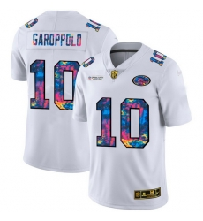 San Francisco 49ers 10 Jimmy Garoppolo Men White Nike Multi Color 2020 NFL Crucial Catch Limited NFL Jersey