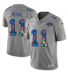 San Francisco 49ers 11 Brandon Aiyuk Men Nike Multi Color 2020 NFL Crucial Catch NFL Jersey Greyheather