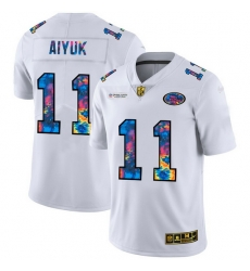 San Francisco 49ers 11 Brandon Aiyuk Men White Nike Multi Color 2020 NFL Crucial Catch Limited NFL Jersey