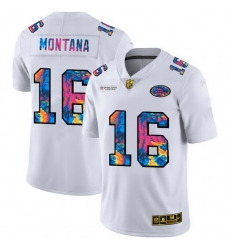 San Francisco 49ers 16 Joe Montana Men White Nike Multi Color 2020 NFL Crucial Catch Limited NFL Jersey