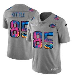 San Francisco 49ers 85 George Kittle Men Nike Multi Color 2020 NFL Crucial Catch NFL Jersey Greyheather