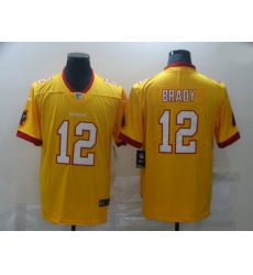 Men Nike Men Tampa Bay Buccaneers 12 Tom Brady Yellow  Stitched NFL Limited Rush Jersey