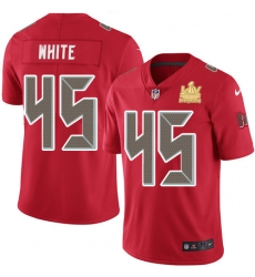 Men Nike Tampa Bay Buccaneers 45 Devin White Red Men Super Bowl LV Champions Patch Stitched NFL Limited Rush Jersey