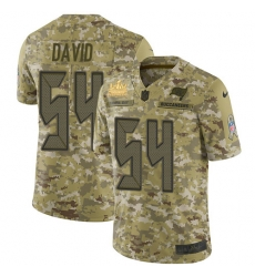 Men Nike Tampa Bay Buccaneers 54 Lavonte David Camo Men Super Bowl LV Champions Patch Stitched NFL Limited 2018 Salute To Service Jersey