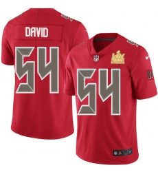 Men Nike Tampa Bay Buccaneers 54 Lavonte David Red Men Super Bowl LV Champions Patch Stitched NFL Limited Rush Jersey