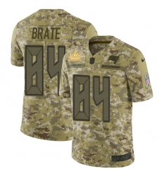 Men Nike Tampa Bay Buccaneers 84 Cameron Brate Camo Men Super Bowl LV Champions Patch Stitched NFL Limited 2018 Salute To Service Jersey
