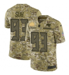 Men Nike Tampa Bay Buccaneers 93 Ndamukong Suh Camo Men Super Bowl LV Champions Patch Stitched NFL Limited 2018 Salute To Service Jersey