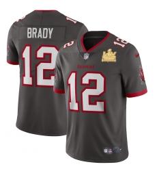 Men Tampa Bay Buccaneers 12 Tom Brady Men Super Bowl LV Champions Patch Nike Pewter Alternate Vapor Limited Jersey