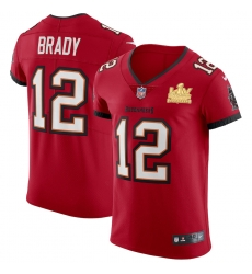 Men Tampa Bay Buccaneers 12 Tom Brady Men Super Bowl LV Champions Patch Nike Red Vapor Elite Jersey