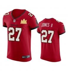 Men Tampa Bay Buccaneers 27 Ronald Jones II Men Super Bowl LV Champions Patch Nike Red Vapor Elite Jersey