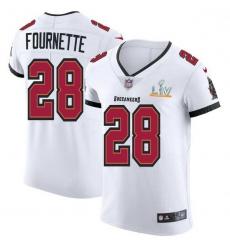 Men Tampa Bay Buccaneers 28 Leonard Fournette Men Super Bowl LV Bound Nike White Vapor Elite Jersey