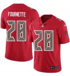 Men Tampa Bay Buccaneers 28 Leonard Fournette Red Men Stitched NFL Limited Rush Jersey