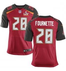 Men Tampa Bay Buccaneers 28 Leonard Fournette Red Team Color Men Super Bowl LV Bound Stitched NFL Vapor Untouchable Elite Jersey