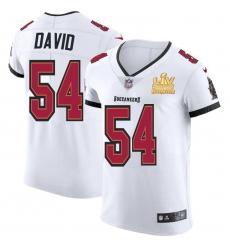 Men Tampa Bay Buccaneers 54 Lavonte David Men Super Bowl LV Champions Patch Nike White Vapor Elite Jersey