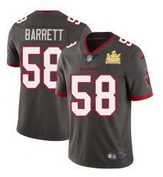 Men Tampa Bay Buccaneers 58 Shaquil Barrett Men Super Bowl LV Champions Patch Nike Pewter Alternate Vapor Limited Jersey