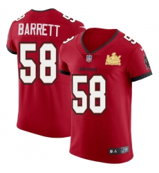 Men Tampa Bay Buccaneers 58 Shaquil Barrett Men Super Bowl LV Champions Patch Nike Red Vapor Elite Jersey