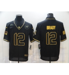 Nike Tampa Bay Buccaneers 12 Tom Brady Black Gold 2020 Salute To Service Limited Jersey