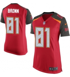 Women Nike Tampa Bay Buccaneers 81 Antonio Brown Red Team Color Women Stitched NFL New Elite Jersey