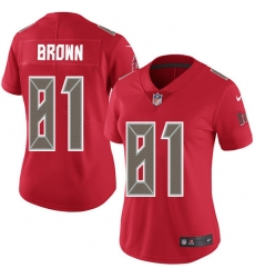 Women Nike Tampa Bay Buccaneers 81 Antonio Brown Red Women Stitched NFL Limited Rush Jersey