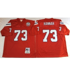 Men New England Patriots 73 John Hannah Red M&N Throwback Jersey