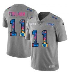 New England Patriots 11 Julian Edelman Men Nike Multi Color 2020 NFL Crucial Catch NFL Jersey Greyheather