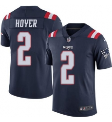 Nike New England Patriots 2 Brian Hoyer Navy Blue Men Stitched NFL Limited Rush Jersey