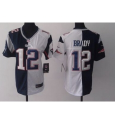 Women New England Patriots Tom Brady White Blue Split Limited Jersey