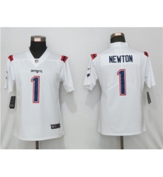 Women Nike New England Patriots 1 Cam Newton  White Jersey
