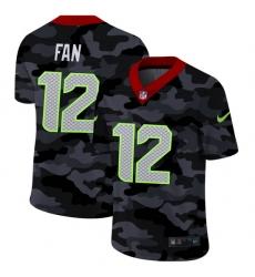 Seattle Seahawks 12 Fan Men Nike 2020 Black CAMO Vapor Untouchable Limited Stitched NFL Jersey