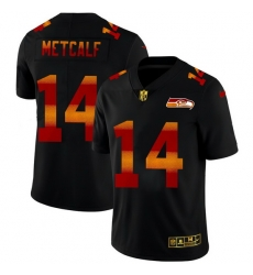 Seattle Seahawks 14 DK Metcalf Men Black Nike Red Orange Stripe Vapor Limited NFL Jersey