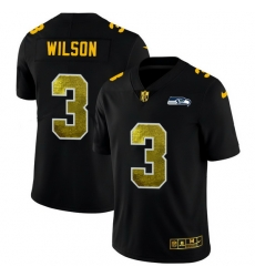 Seattle Seahawks 3 Russell Wilson Men Black Nike Golden Sequin Vapor Limited NFL Jersey