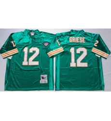 Men Miami Dolphins 12 Bob Griese Aqua M&N Throwback Jersey