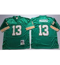 Men Miami Dolphins 13 Dan Marino Aqua M&N Throwback Jersey