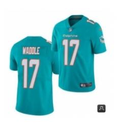 Men Miami Dolphins #17 Jaylen Waddle Aqua 2021 Vapor Untouchable Limited Stitched NFL Jersey