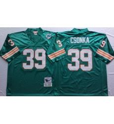 Men Miami Dolphins 39 Larry Csonka Aqua M&N Throwback Jersey