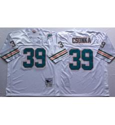 Men Miami Dolphins 39 Larry Csonka White M&N Throwback Jersey
