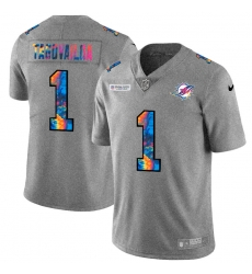 Miami Dolphins 1 Tua Tagovailoa Men Nike Multi Color 2020 NFL Crucial Catch NFL Jersey Greyheather