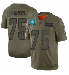 Nike Dolphins 75 Ereck Flowers Camo Men Stitched NFL Limited 2019 Salute To Service Jersey
