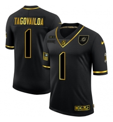 Nike Miami Dolphins 1 Tua Tagovailoa Black Gold 2020 Salute To Service Limited Jersey