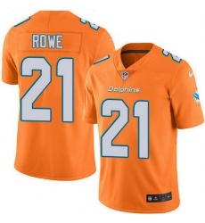 Nike Miami Dolphins 21 Eric Rowe Orange Men Stitched NFL Limited Rush Jersey