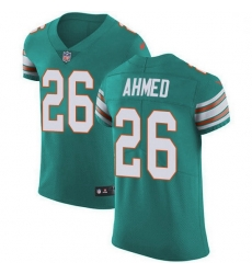 Nike Miami Dolphins 26 Salvon Ahmed Aqua Green Alternate Men Stitched NFL New Elite Jersey