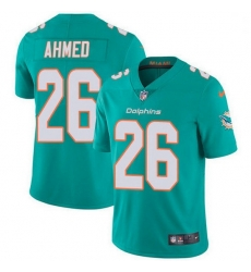 Nike Miami Dolphins 26 Salvon Ahmed Aqua Green Team Color Men Stitched NFL Vapor Untouchable Limited Jersey