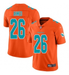 Nike Miami Dolphins 26 Salvon Ahmed Orange Men Stitched NFL Limited Inverted Legend Jersey