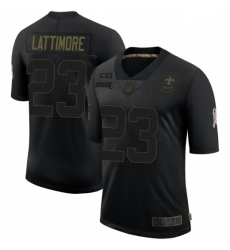 Men New Orleans Saints 23 Marshon Lattimore Black Salute To Service Limited Jersey