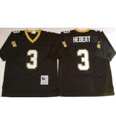 Men New Orleans Saints 3 Bobby Hebert Black M&N Throwback Jersey