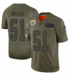 Men New Orleans Saints 51 Sam Mills Limited Camo 2019 Salute to Service Football Jersey