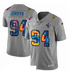 Men New Orleans Saints 94 Cameron Jordan Men Nike Multi Color 2020 NFL Crucial Catch NFL Jersey Greyheather