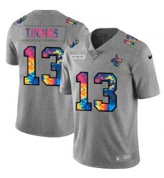 New Orleans Saints 13 Michael Thomas Men Nike Multi Color 2020 NFL Crucial Catch NFL Jersey Greyheather
