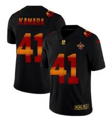 New Orleans Saints 41 Alvin Kamara Men Black Nike Red Orange Stripe Vapor Limited NFL Jersey